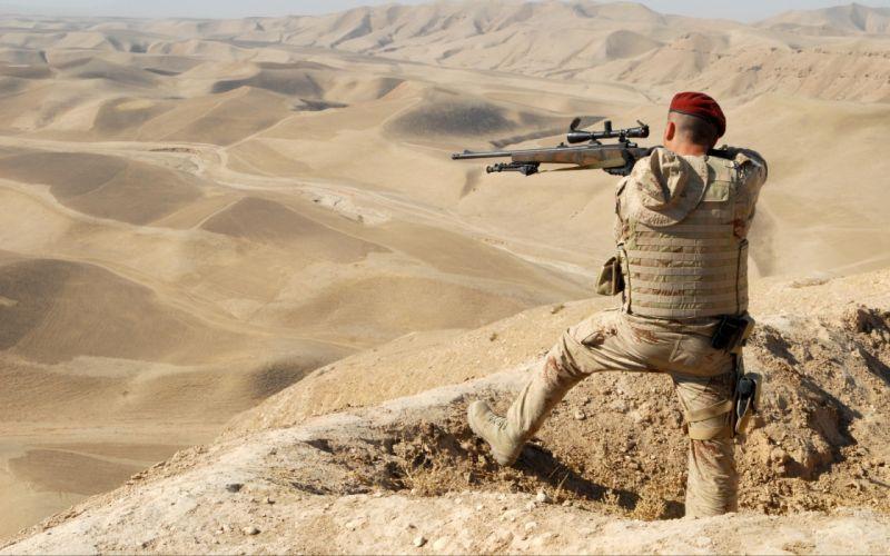 military warrior soldier people men sniper weapons guns rifles mountains desert wallpaper