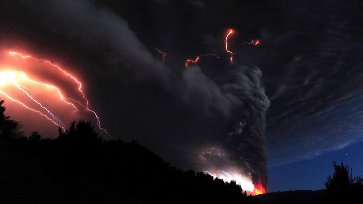 landscapes mountains volcano lava fire smoke fire lightning storm wallpaper