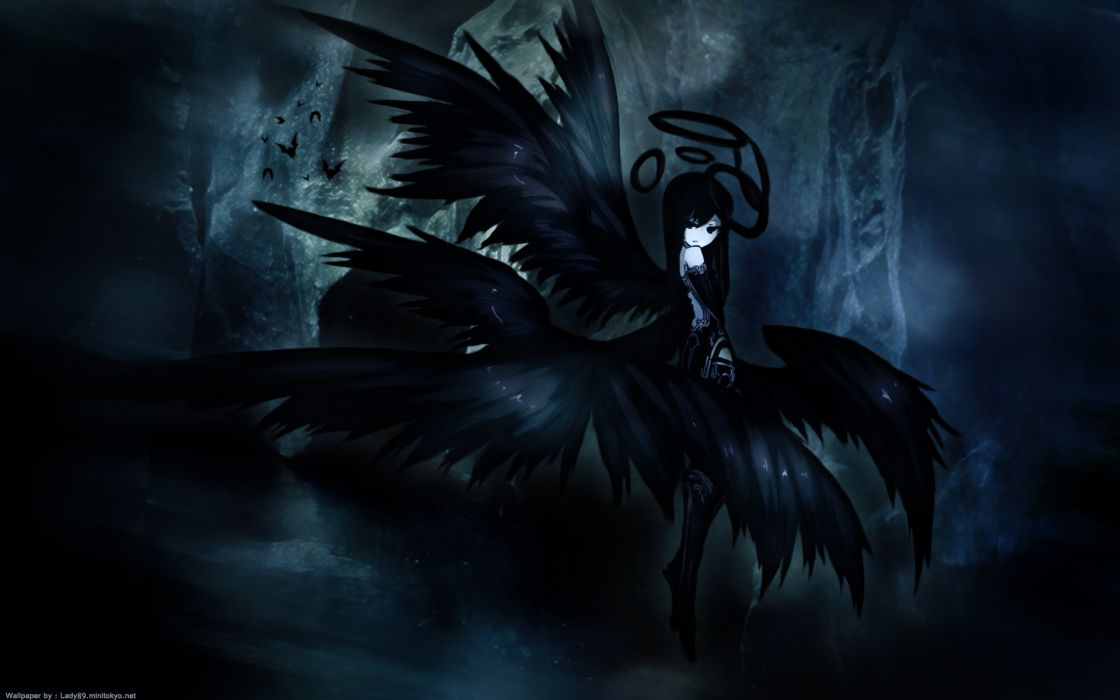 1920x1200 wings anime girls black hair dark halo original shiroganeusagi wings wallpaper