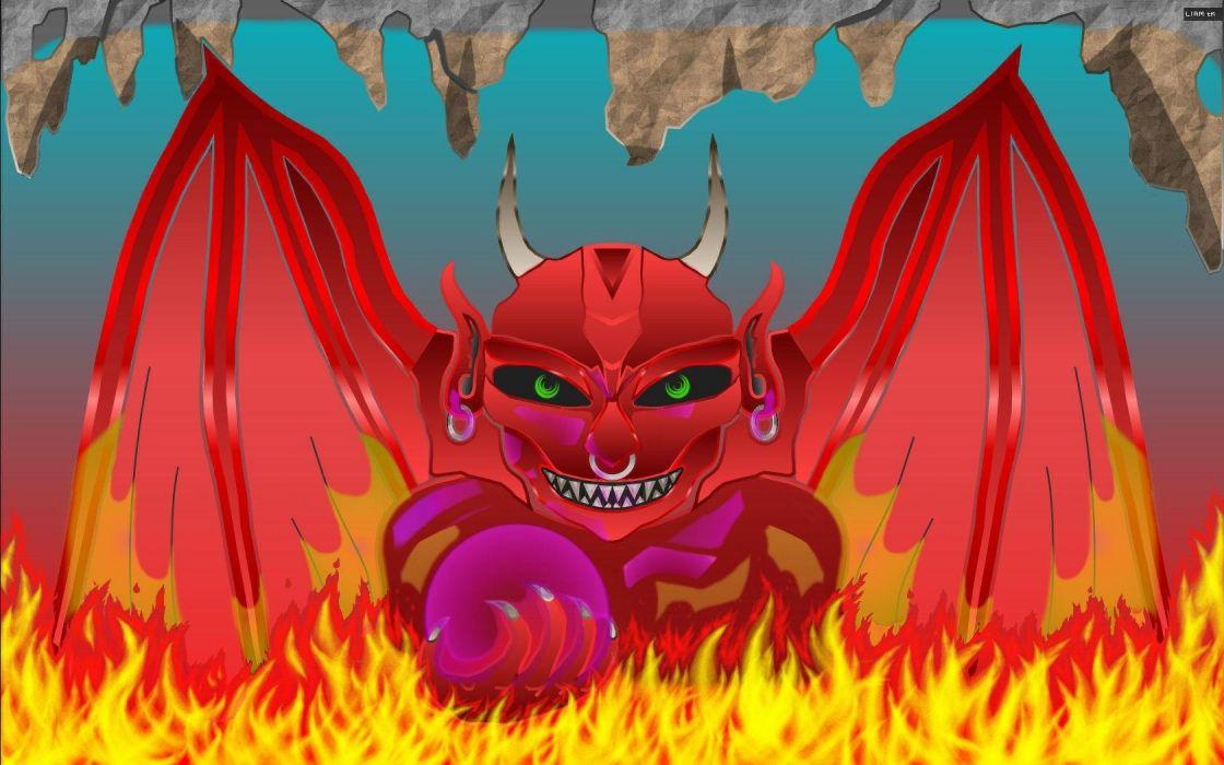dark horror demon satan fire occult hell horns wallpaper