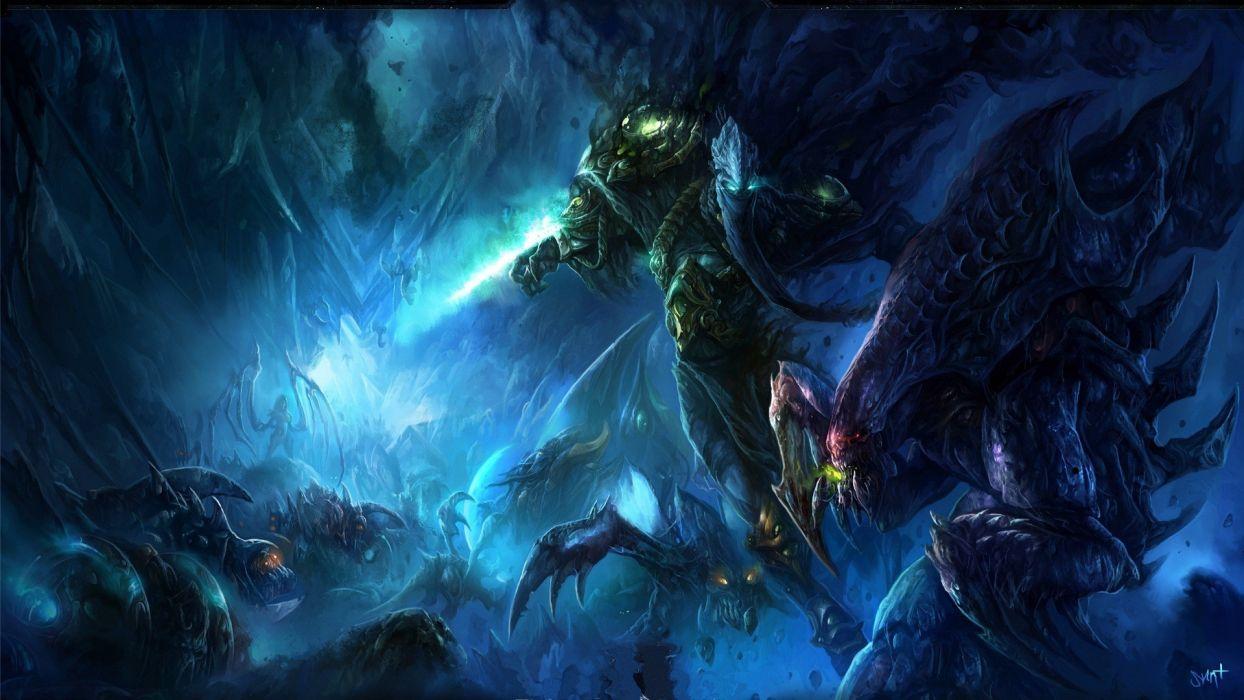 Starcraft sci fi art fantasy warrior monster creature wallpaper