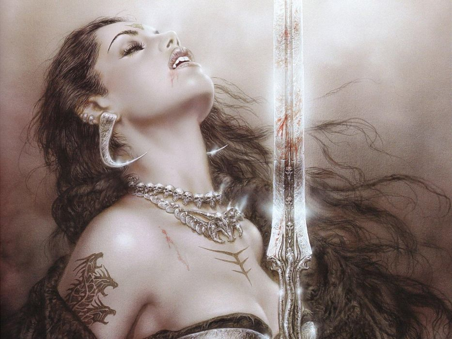 Luis Royo fantasy art warrior blood dark women sword vampire wallpaper
