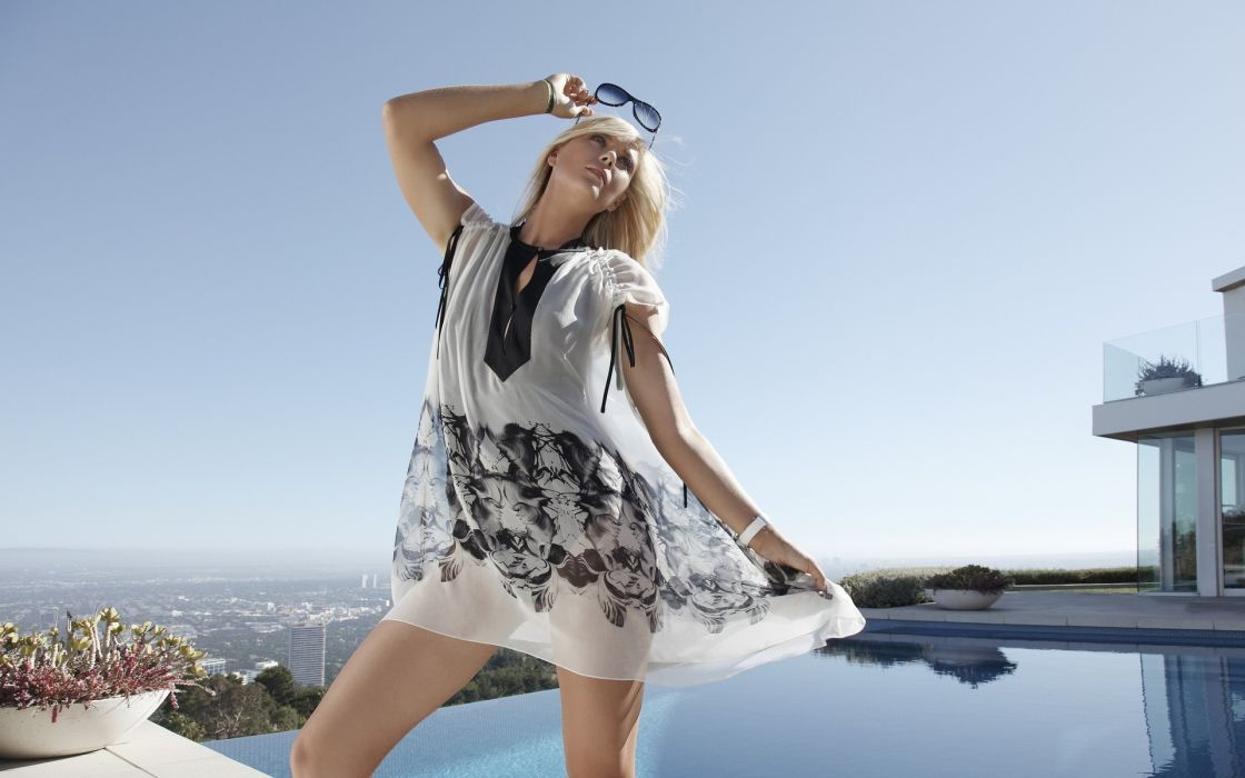 Maria Sharapova sports tennis glasses women model fashion blondes sexy babes wallpaper