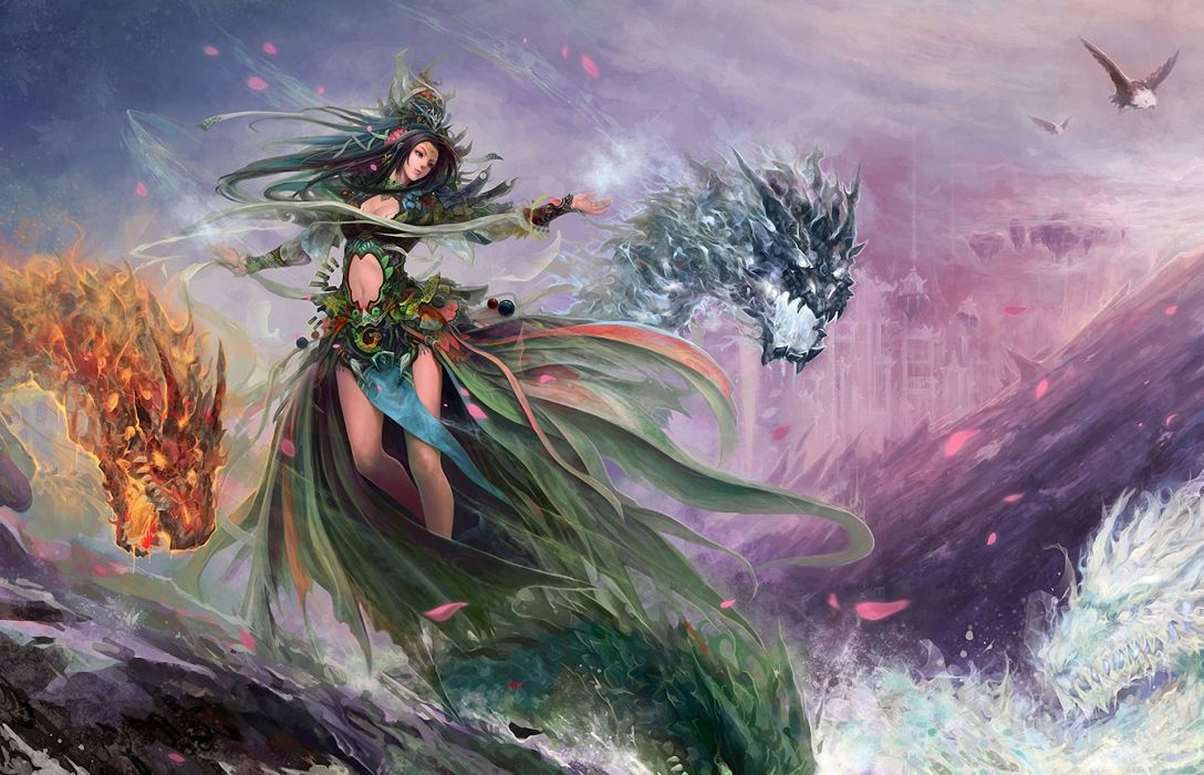 fantasy art women sexy babes dragon magic wallpaper