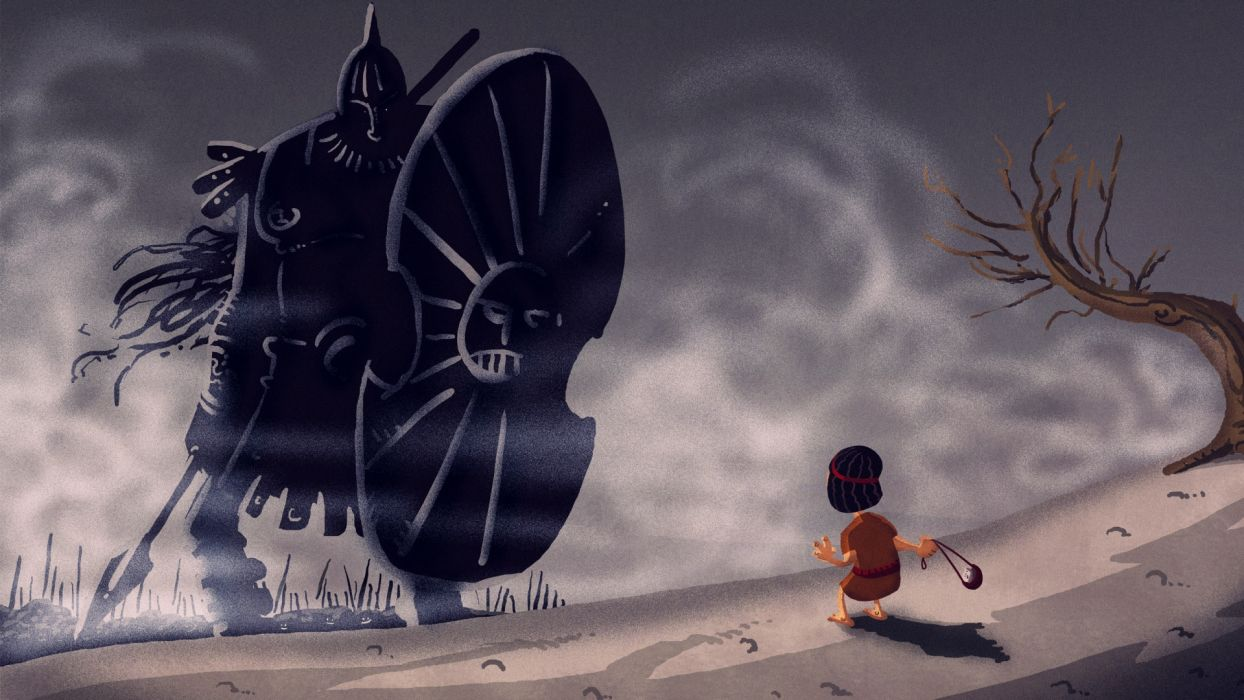 David and Goliath religion story warrior weapons spear army battles art wallpaper