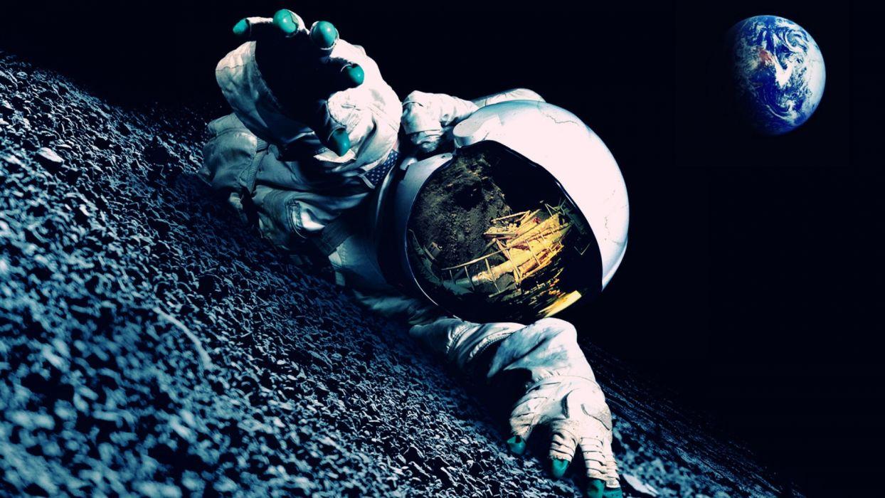 astronaut mood earth planets mask reflection dark horror wallpaper