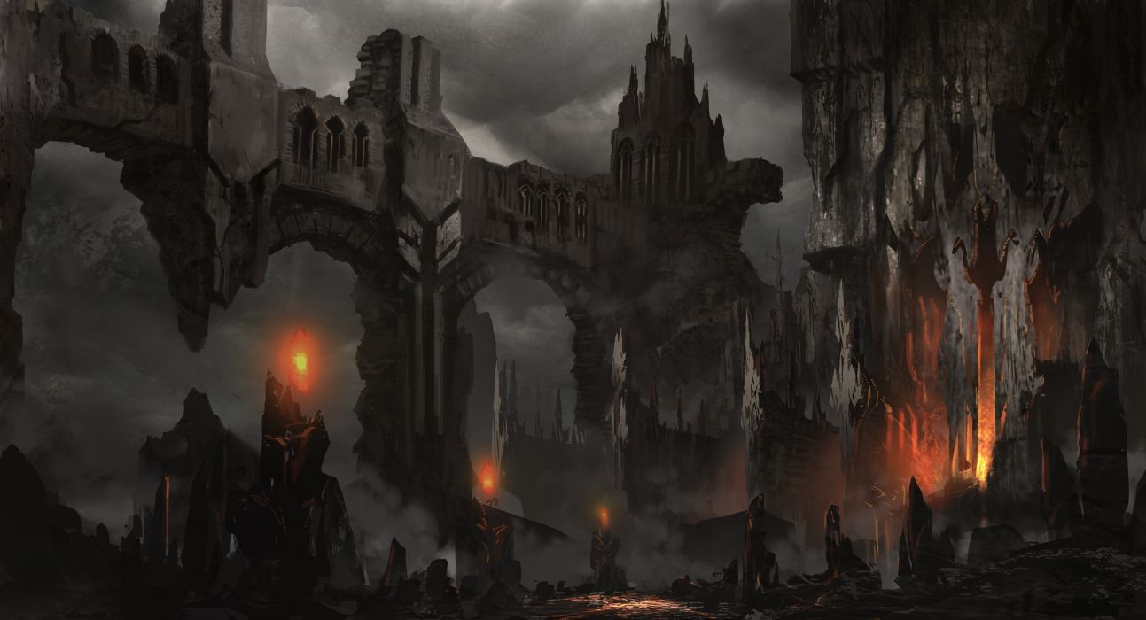 fantasy art landscapes decay ruins castle fire dark horror wallpaper
