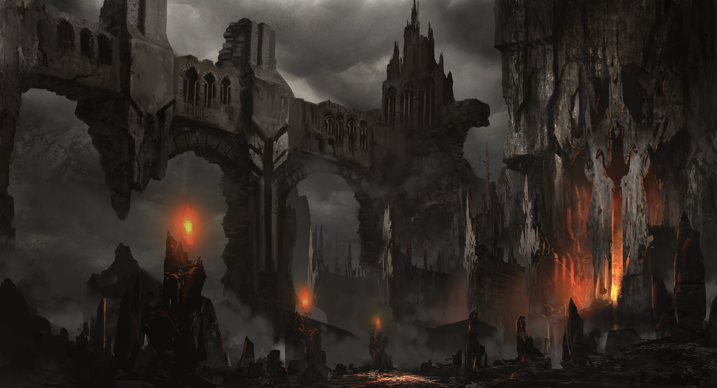 Fantasy art landscapes decay ruins castle fire dark horror ...