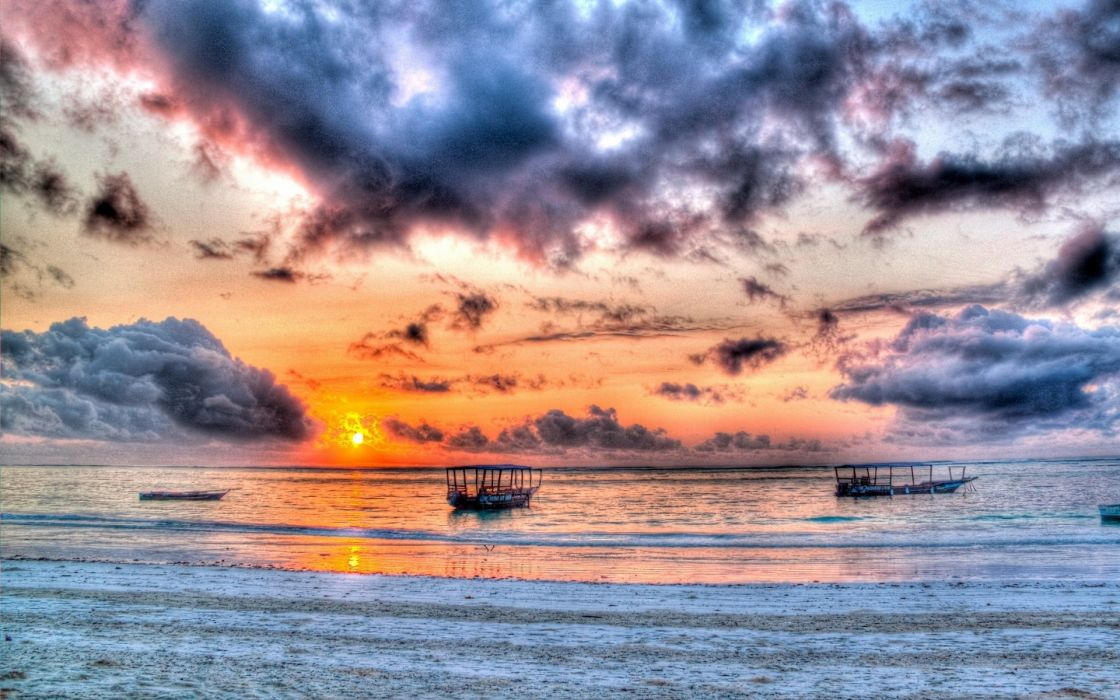 ocean hdr sky clouds boats wallpaper