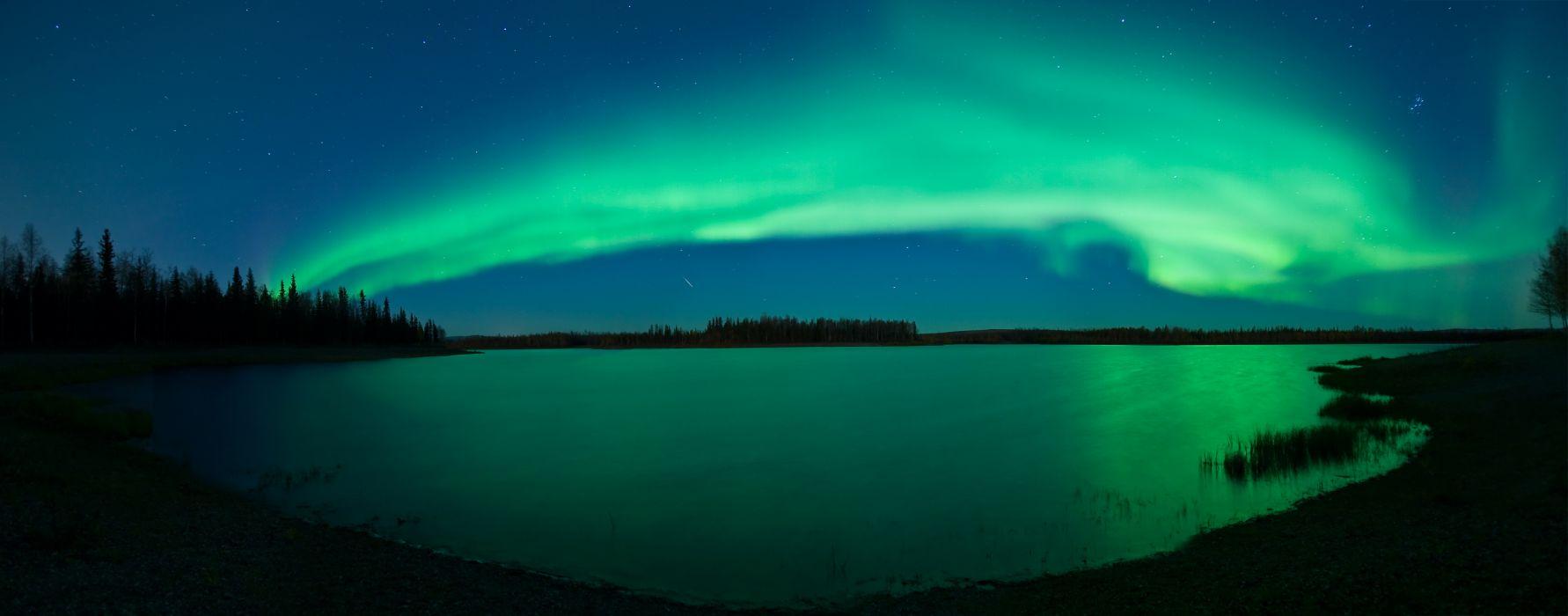 Aurora Stars Meteor Lake Alaska sky night sci fi wallpaper