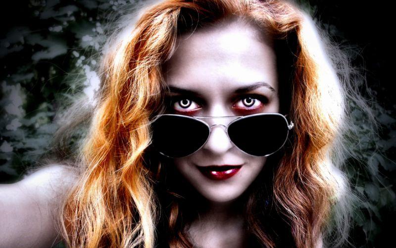 dark horror fantasy art glasses face eyes vampire women redhead wallpaper