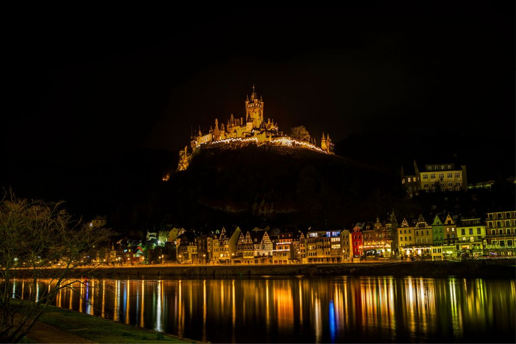 Cochem Burg buildings castle hdr night lights reflection wallpaper