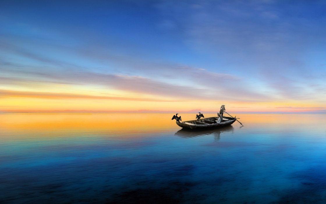 fantasy art painting lakes sky clouds sunset sunrise people mood birds ocean wallpaper