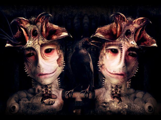 dark horror demon gothic mask alien macabre eyes wallpaper