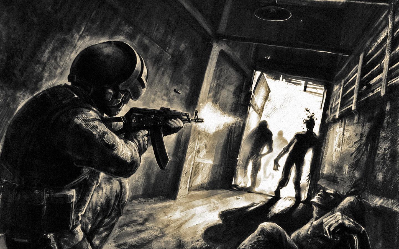 Dark horror zombie warrior soldier weapons guns art wallpaper