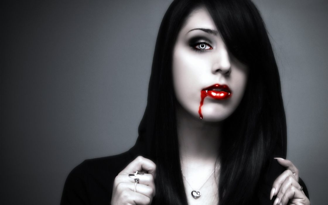 dark horror fantasy gothic face blood women model brunette cg digital art manip wallpaper