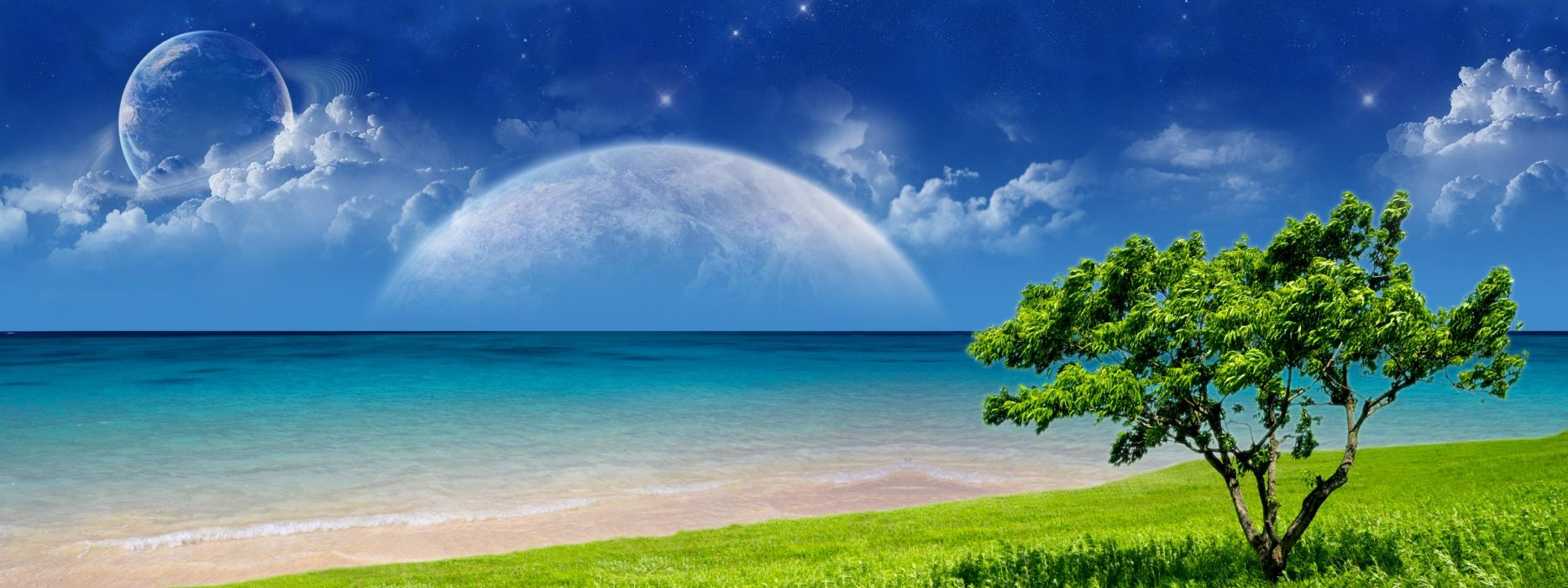 Multi Monitor Dual Screen cg digital art manip ocean sea sky planets sci fi mood clouds wallpaper