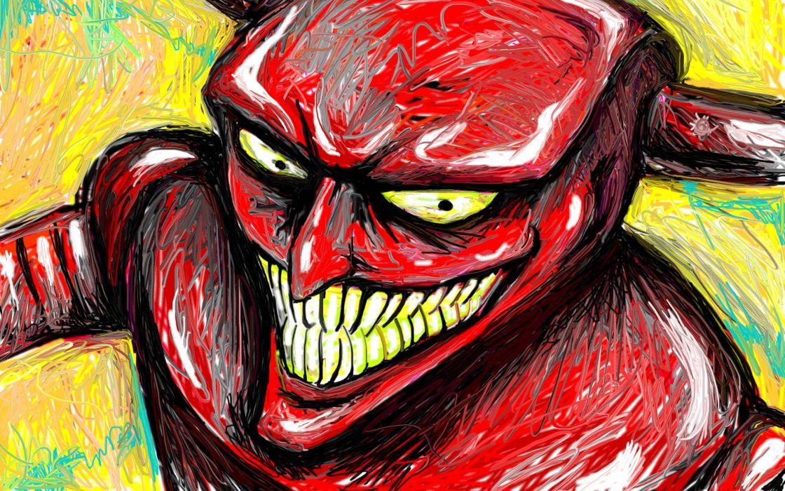 robot devil futurama drawing smile dark horror demon wallpaper