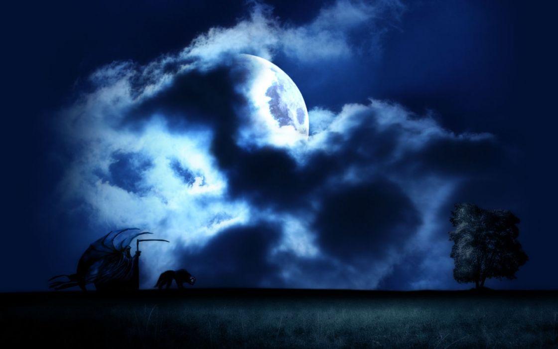 Dark horror gothic fantasy monster night grim reaper ...