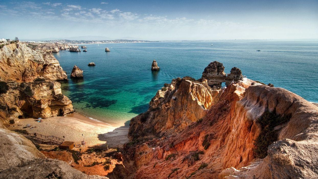 landscapes ocean sea sky coast shore wallpaper