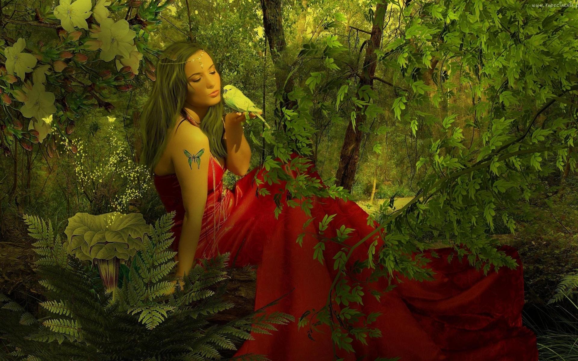 Fantasy art gothic trees forest nature birds mood fairy women ...