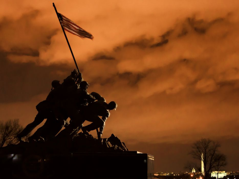 military statue warriors soldiers sky clouds usa wallpaper