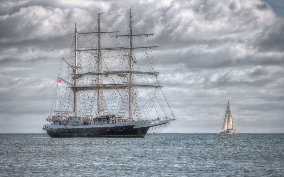 hdr ships boats ocean sky clouds sailing wallpaper