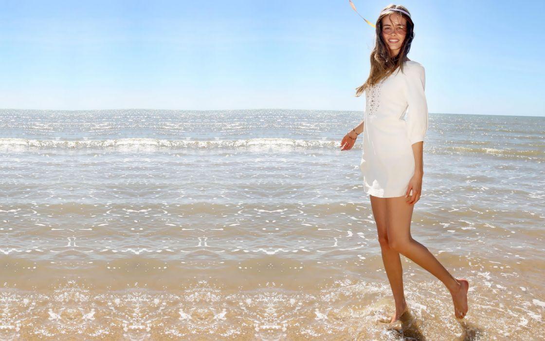 Isabel Lucas actress women model sexy babe brunette ocean waves wallpaper