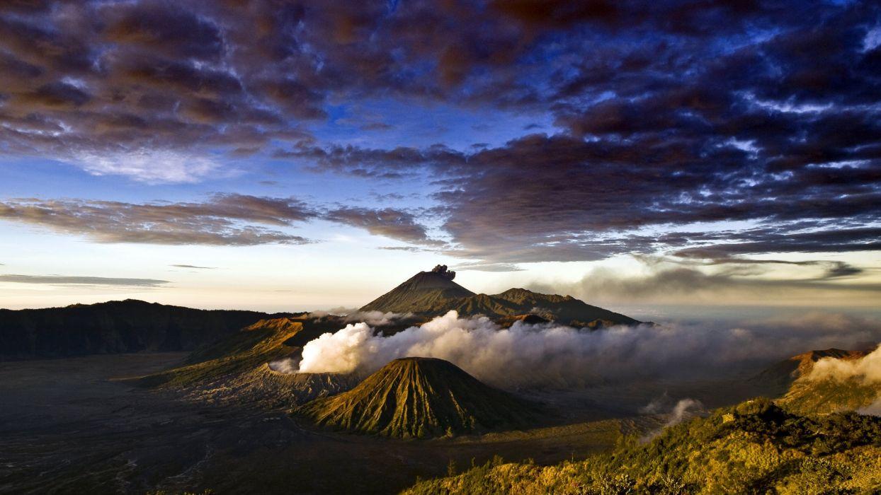landscapes volcano sky clouds wallpaper