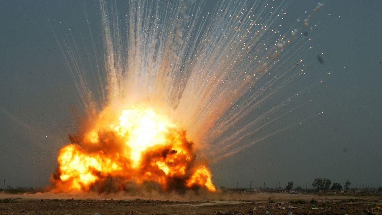 military explosion fire bomb dark landscapes wallpaper