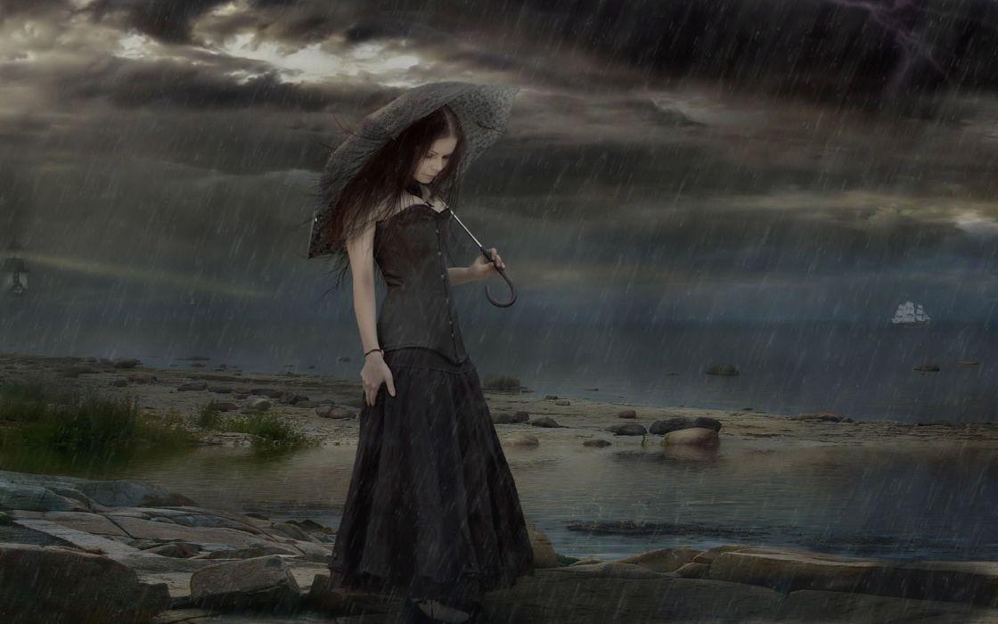 gothic umbrella storm rain sky clouds sea ocean mood art cg digital art women girl wallpaper