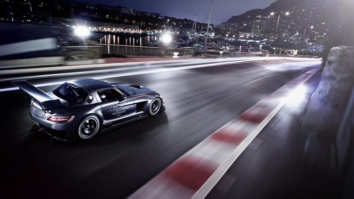 Mercedes Benz SLS AMG racing track race cars tuning crowd wallpaper