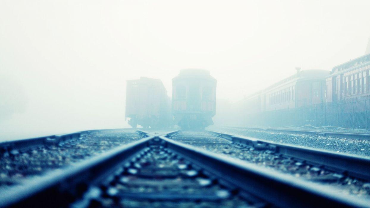 railroad tracks fog wallpaper