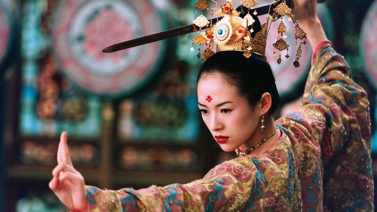The House of Flying Daggers Zhang Ziyi actress asian oriental warriors weapons sword katana kimono women babes face martial arts sports brunette wallpaper