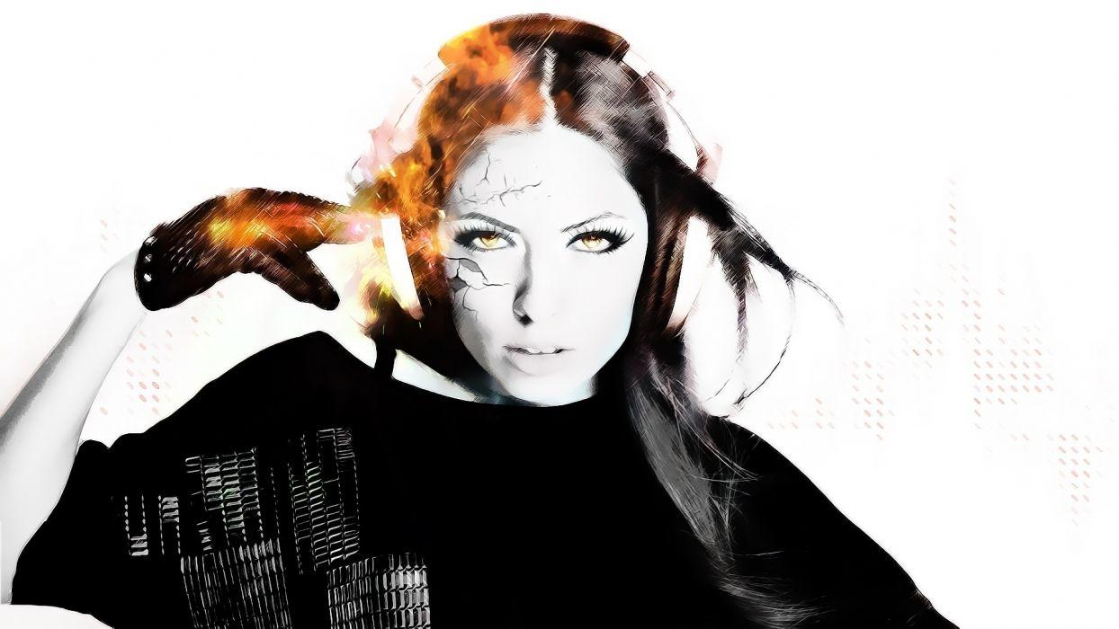1920x1080 headphones women music face fire cg digital art wallpaper