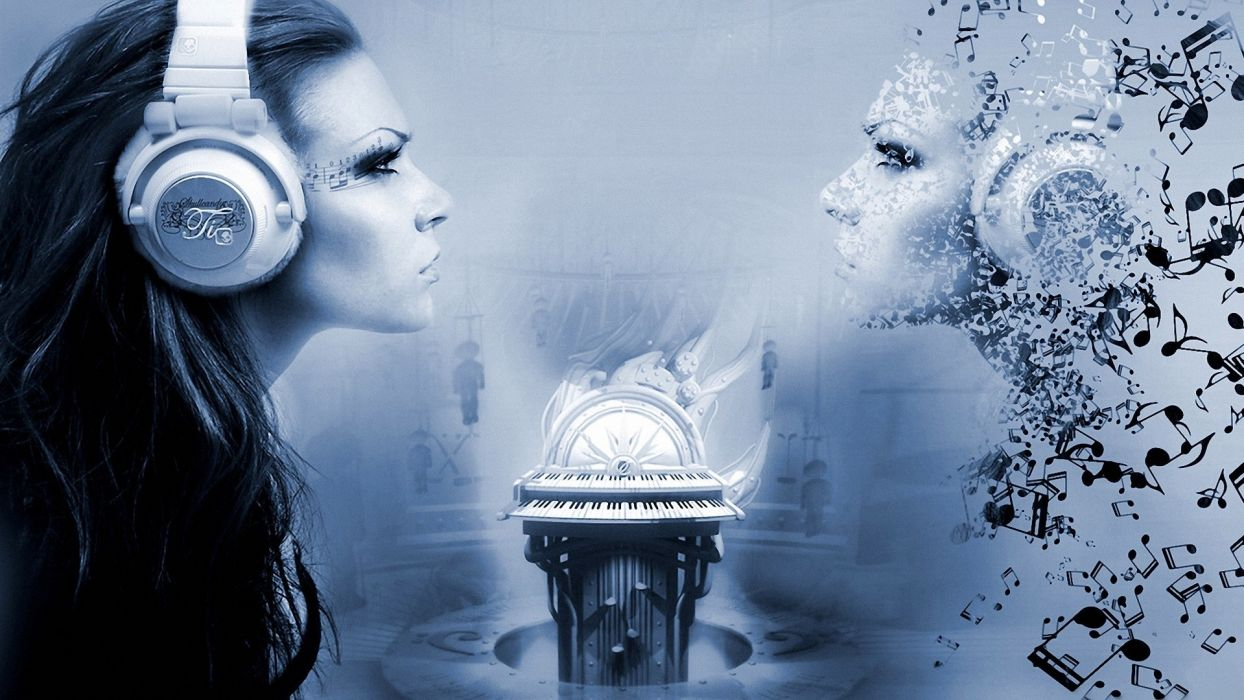 women model face headphone music cg digital art manip gothic wallpaper