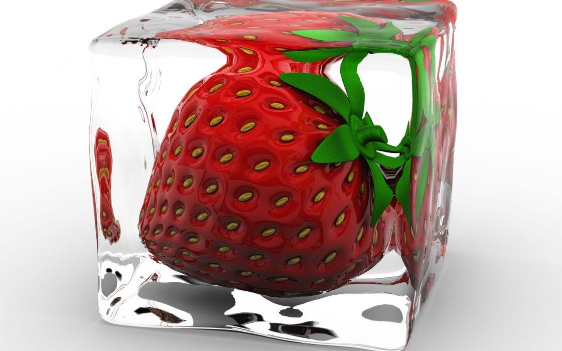 food fruit ice cube strawberry cg digital art wallpaper