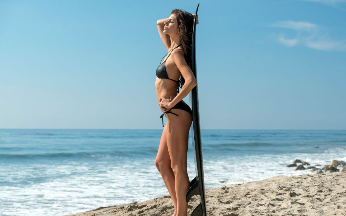 women model fashion brunette sexy babes bikini swimwear beaches ocean wallpaper