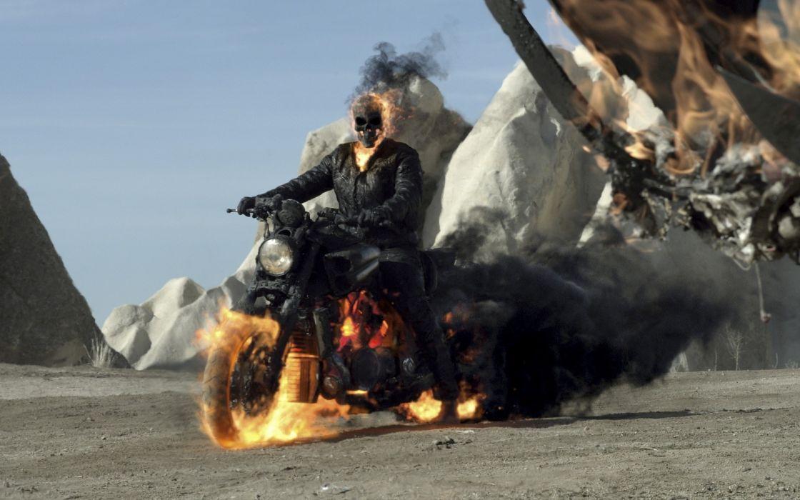 Ghost Rider fire demon skull motorcycle chopper custom wallpaper