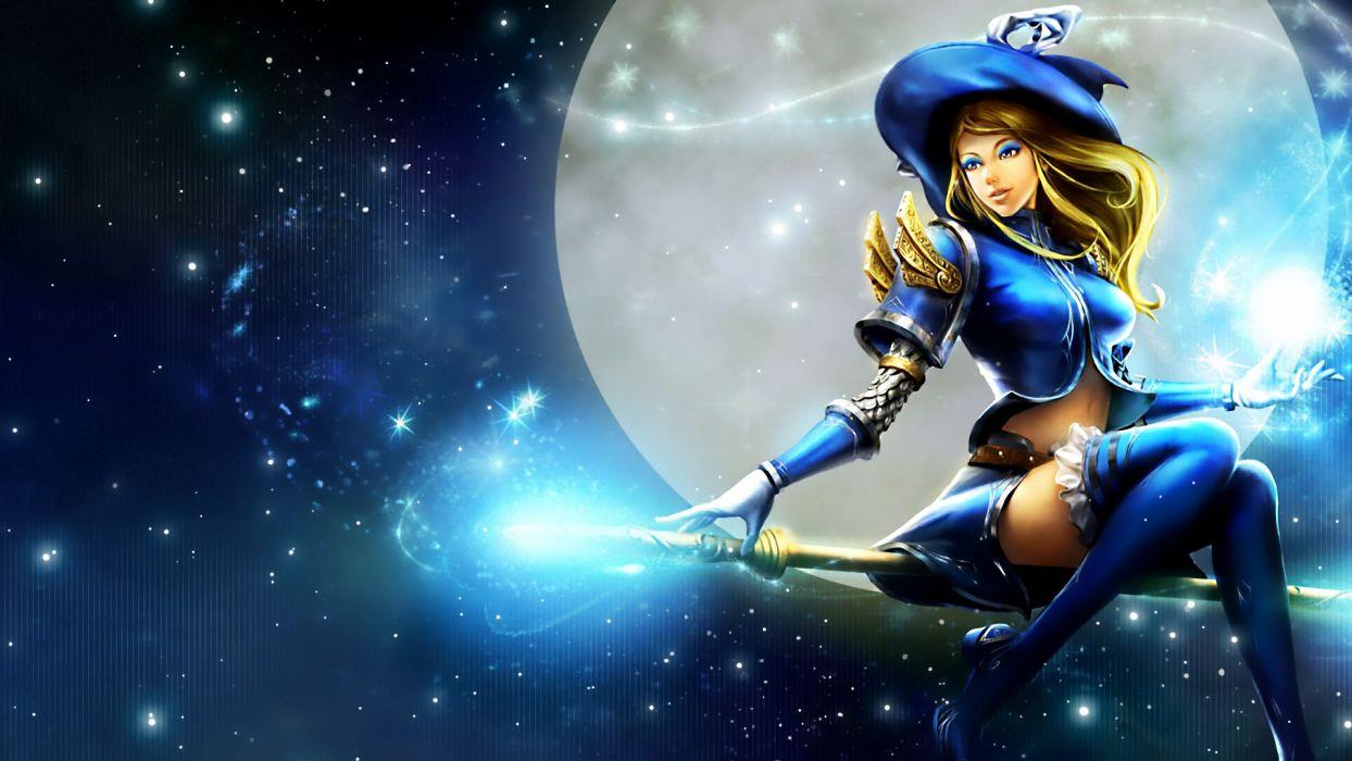League of Legends Lux fantasy dark horror witch women art sky mood stars wallpaper