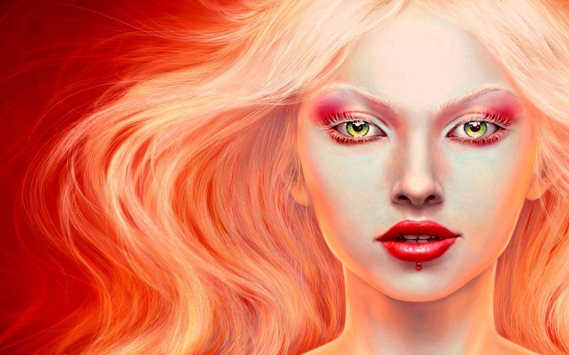 cg digital art fantasy art realistic face eyes lips women blondes sey babes wallpaper