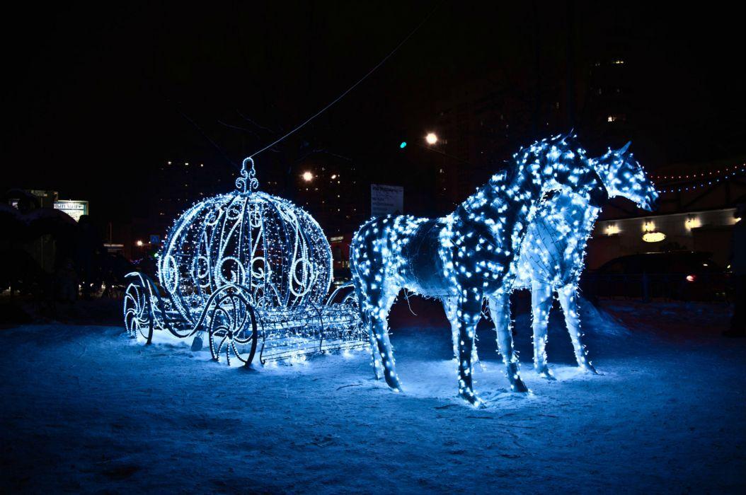 horses light holiday coach vehicles princess winter christmas wallpaper