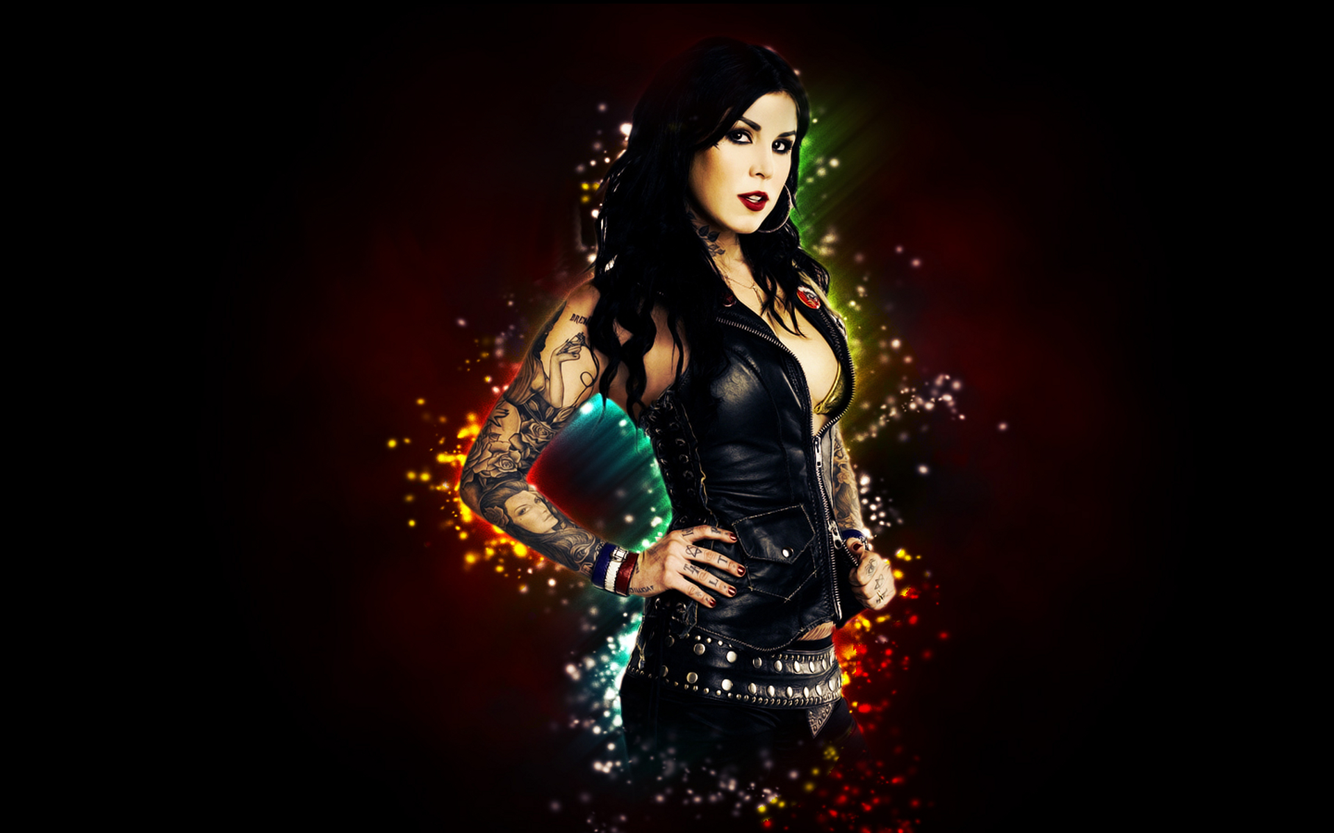 Kat Von D celeb tattoo gothic women model brunette sexy ...