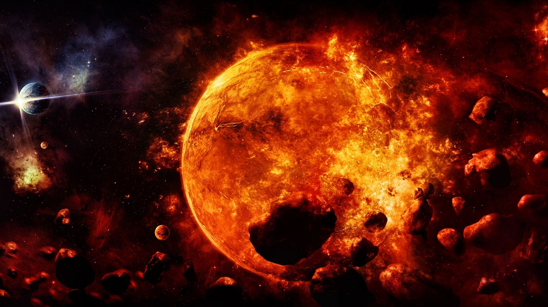 Fire Planet Wallpaper Sci fi Sun Planets Fire Stars
