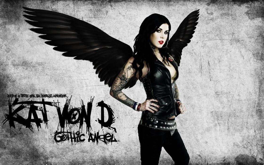 Kat Von D gothic angels fantasy dark tattoo women model brunette sexy babes celeb wallpaper