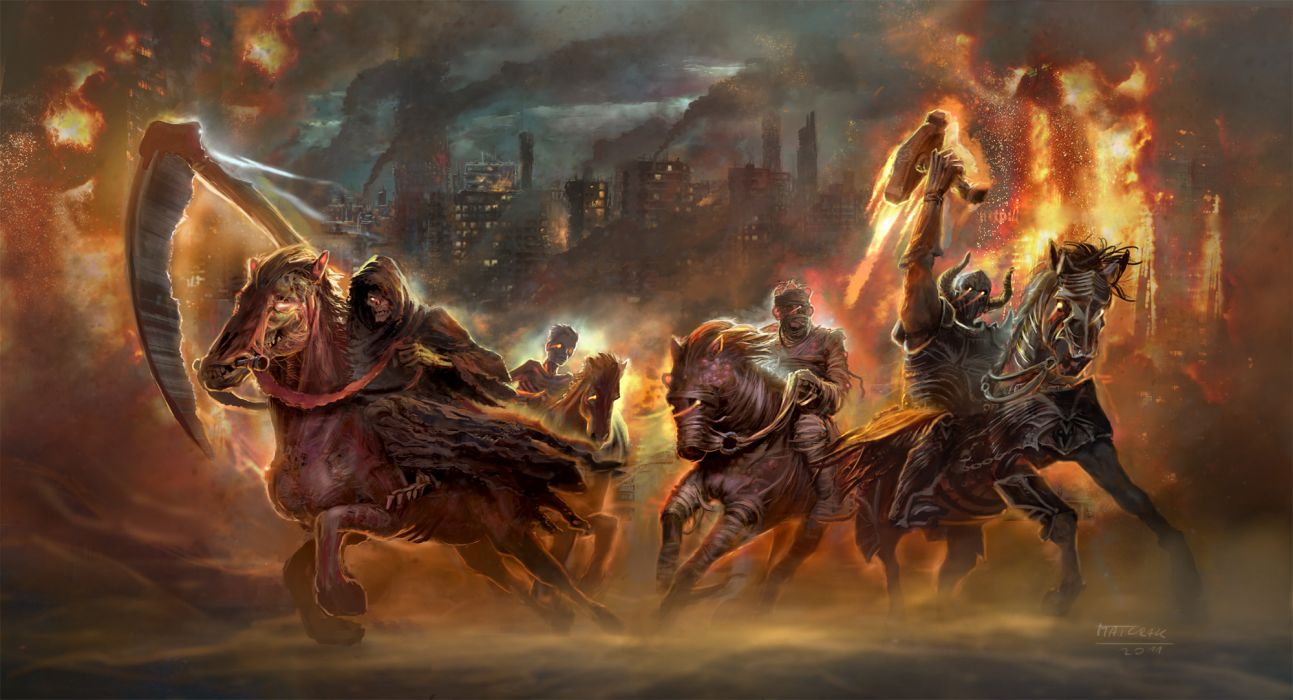 The Four Horsemen of the Apocalypse religion revelations dark horror fantasy fire evil weapons death art wallpaper