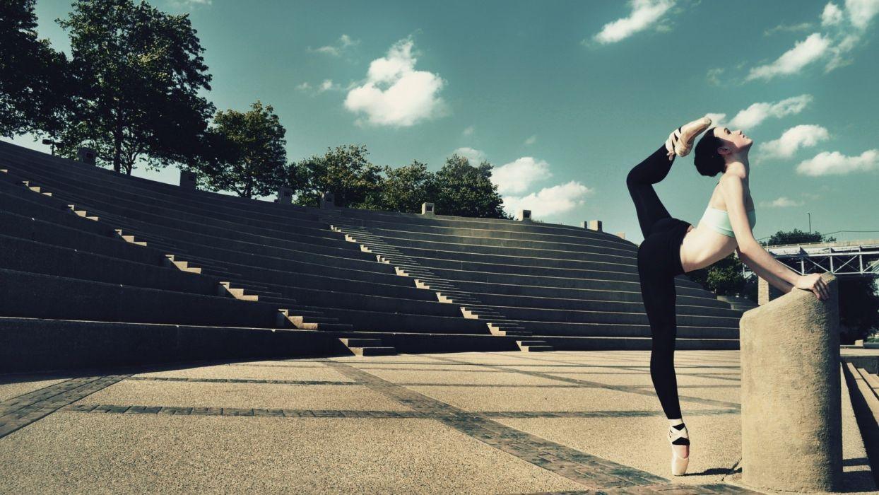 Stretch Ballerina Brunette dance music women model sexy babes wallpaper