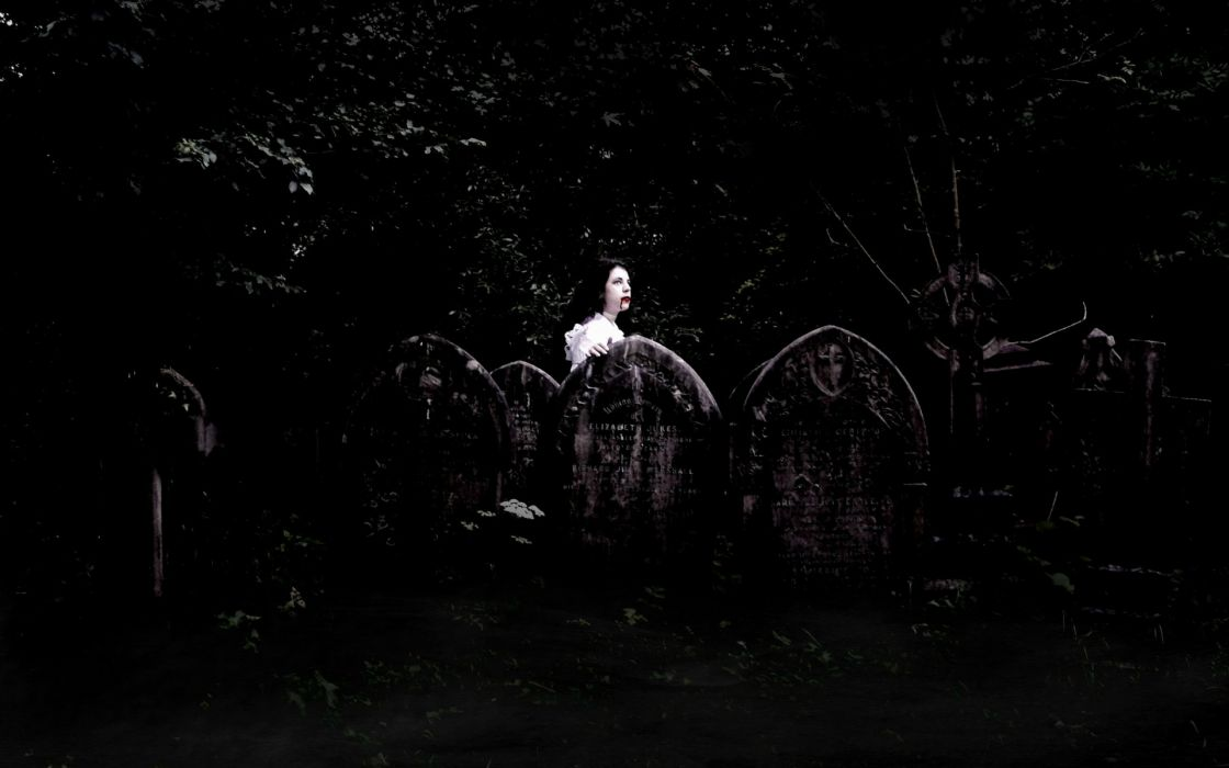 dark horror fantasy gothic vampires cemetery grave art blood wallpaper
