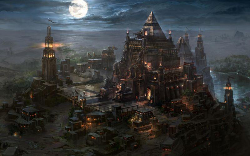 Kingdom Under Fire IIfantasy art cities castle buildings temple night moon wallpaper