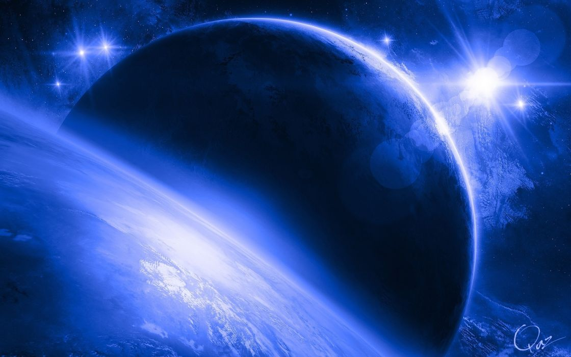 sci fi planets stars art cg digital blue wallpaper